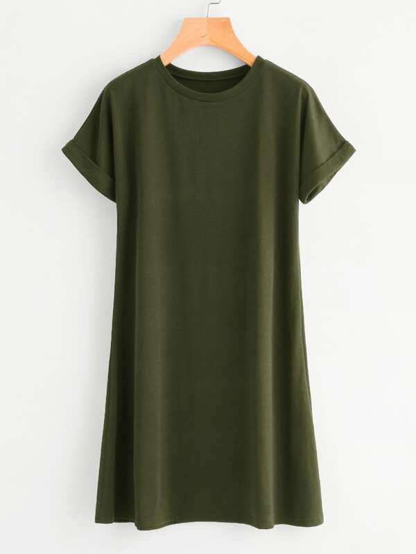 414cbbbf3f Rolled Sleeve Basic Tee Dress | SHEIN