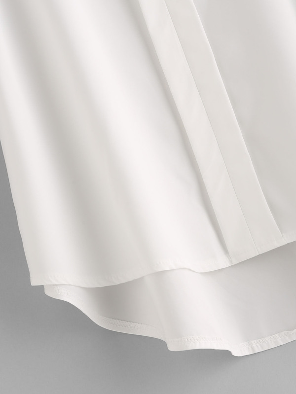 08980e233e0d47 Hollow Out Lace Panel Dip Hem Blouse | SHEIN