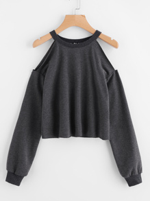 Open Shoulder Raw Hem Heathered Pullover