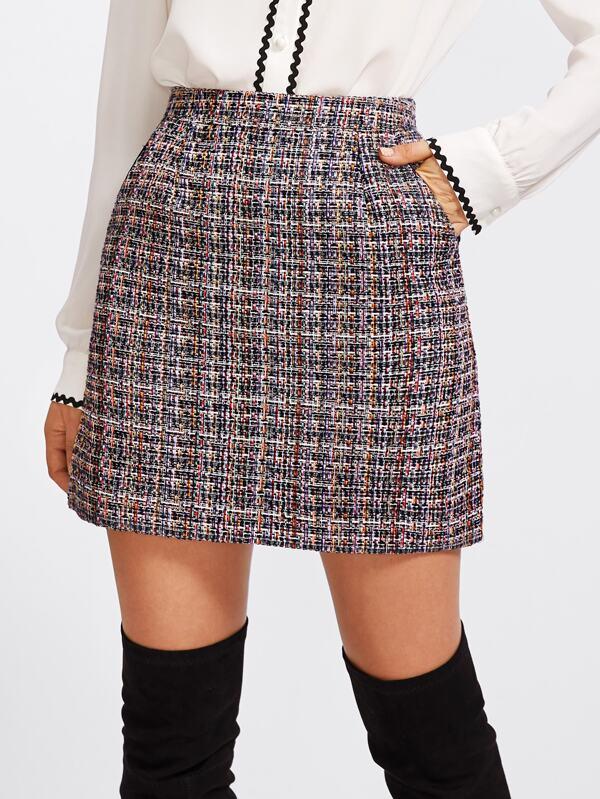 1ea6aba8e23d Zip Back Tweed Skirt | SHEIN UK