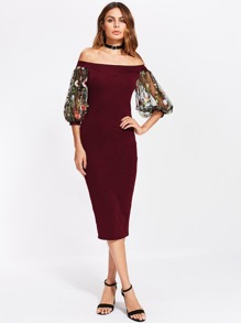 Bardot Dress With Embroidered Mesh Puff Sleeve