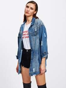 b8aff88cc3c Faux Pearl Frayed Bleach Wash Denim Jacket