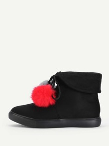 Double Pom Pom Lace Up Flat Boots