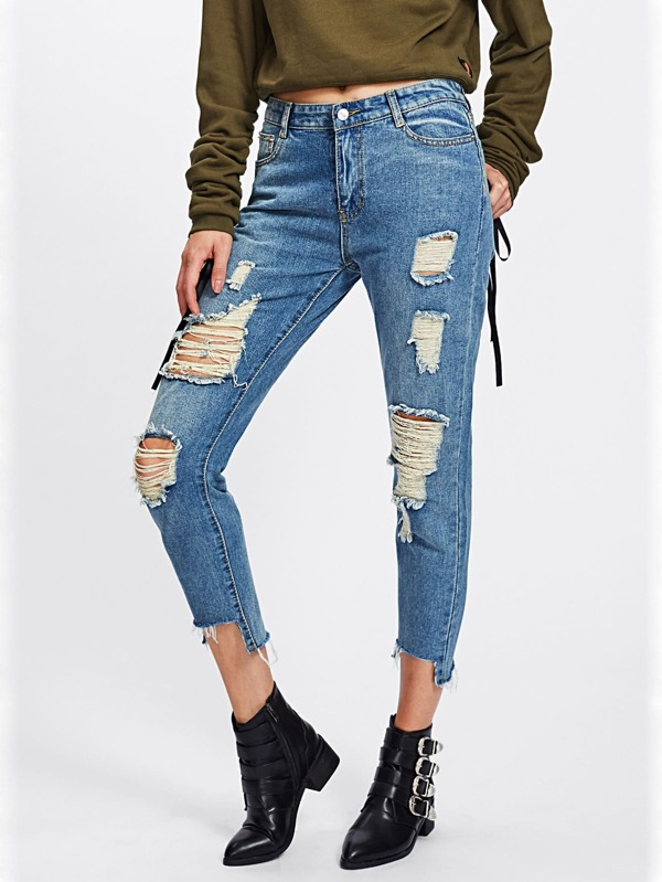 54e521ee8ae3 Cut Out Hem Extreme Distressing Jeans | SHEIN UK