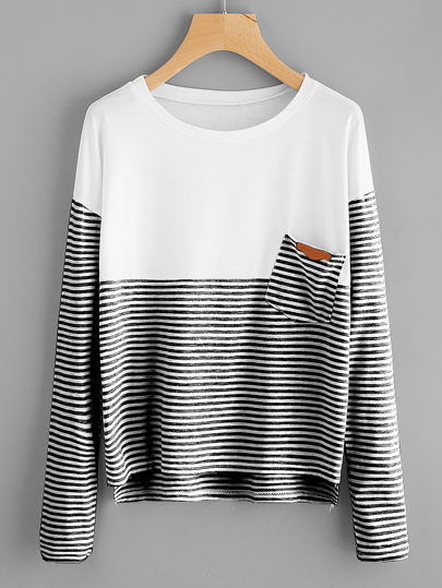 Pocket Patch Dip Hem Striped Tee