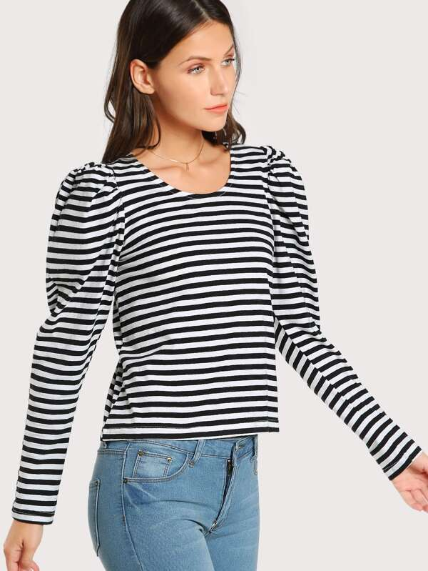 58718c5461 Striped Long Puff Sleeve Top | SHEIN