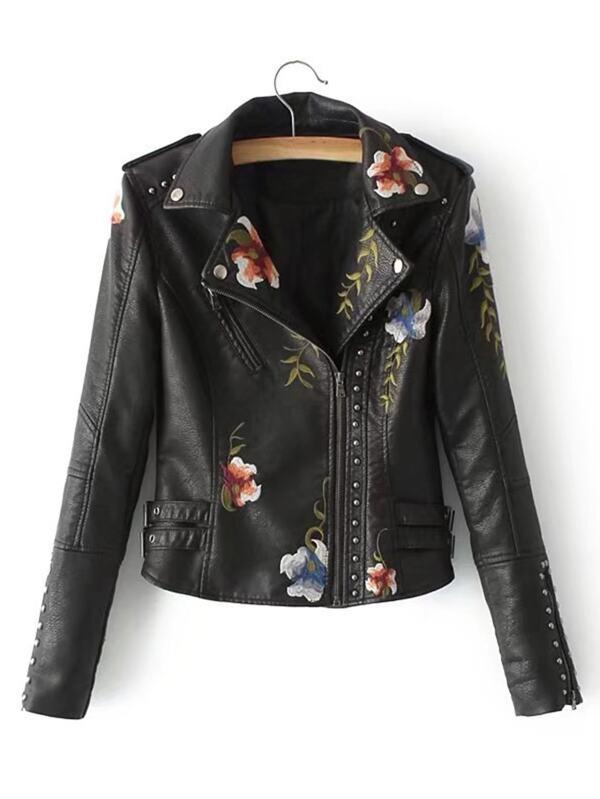 Flower Embroidery Studded Detail Pu Biker Jacket Shein Sheinside