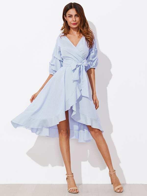 48aa0fdae03 Модное платье в полоску с запахом