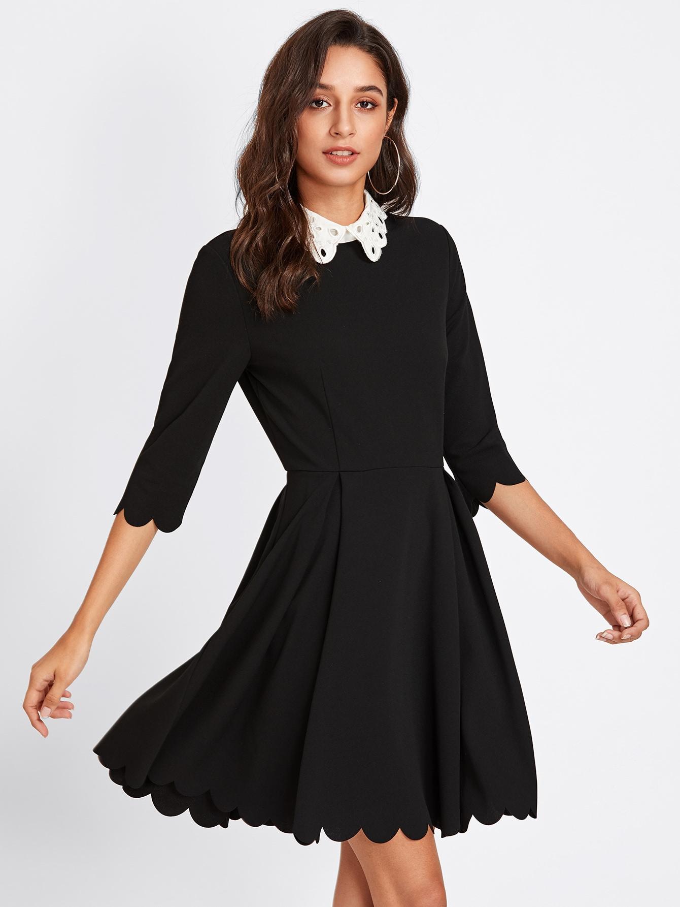 b65f218ec696 Schiffy Collar Scalloped Edge Skater Dress