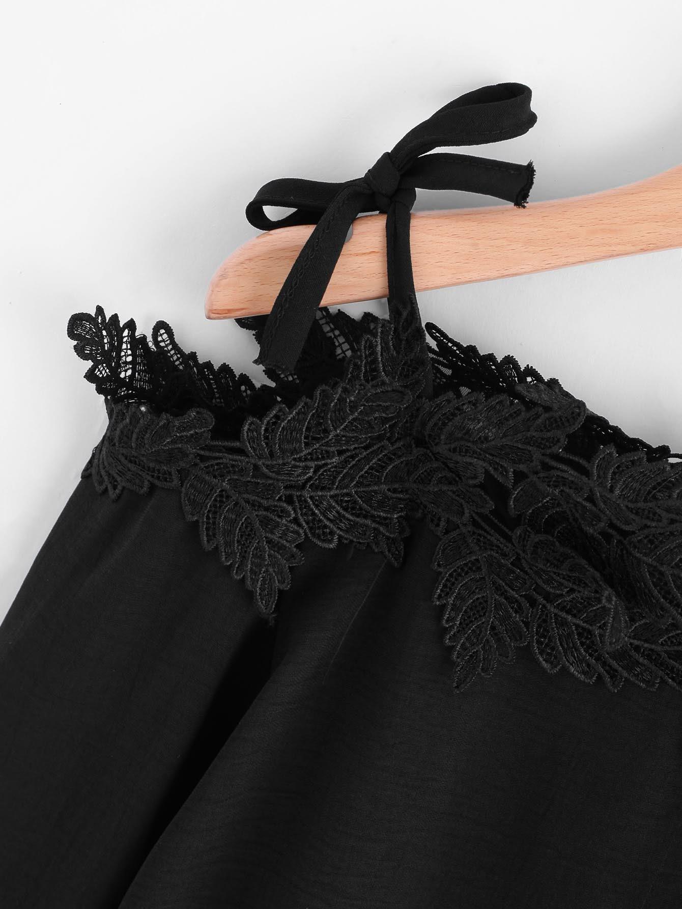 d7970d23ca93f5 Mesh Panel Crochet Appliques Asymmetric Cold Shoulder Blouse