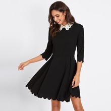 Contrast Eyelet Embroidered Collar Scalloped Dress dress170905715