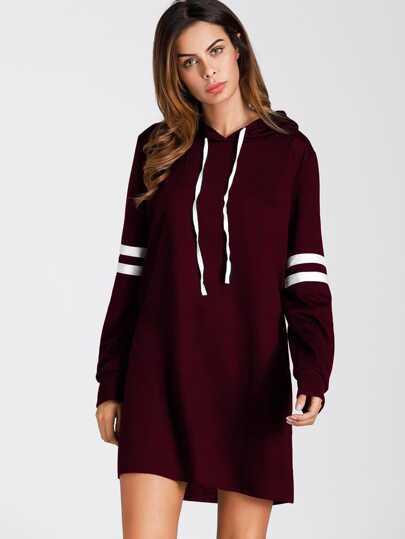 d1f4c95d8ac3 Varsity Striped Hooded Sweatshirt Dress