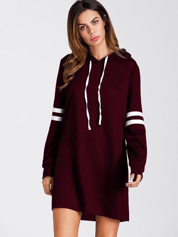 38861e4ca78aa1 Varsity Striped Hooded Sweatshirt Dress