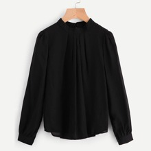Mock Neck Gathered Neck Chiffon Blouse