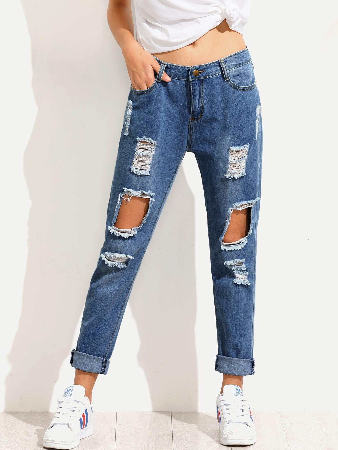 zerrissene jeans mit bleichen waschung german shein sheinside. Black Bedroom Furniture Sets. Home Design Ideas