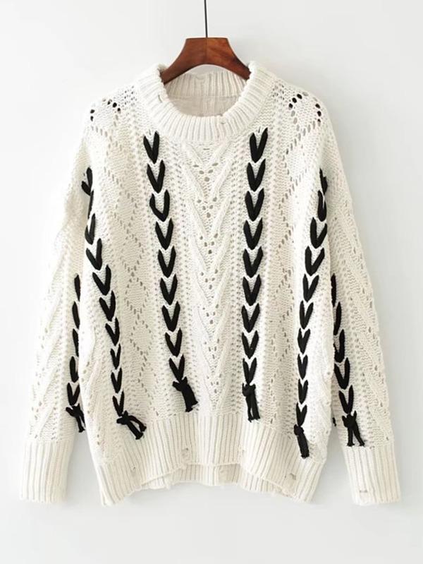 Suéter roto con abertura con cordón en contraste -Spanish SheIn ...