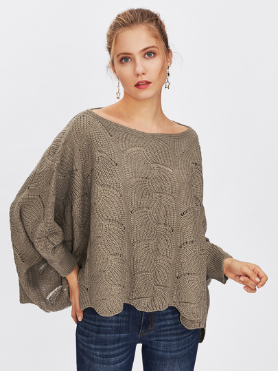 Loose Knit Scalloped Dolman Sweater pictures