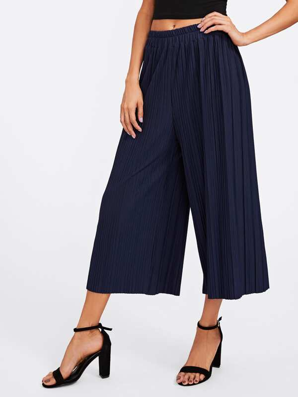 94d69a53c9 Elastic Waist Pleated Wide Leg Pants | SHEIN