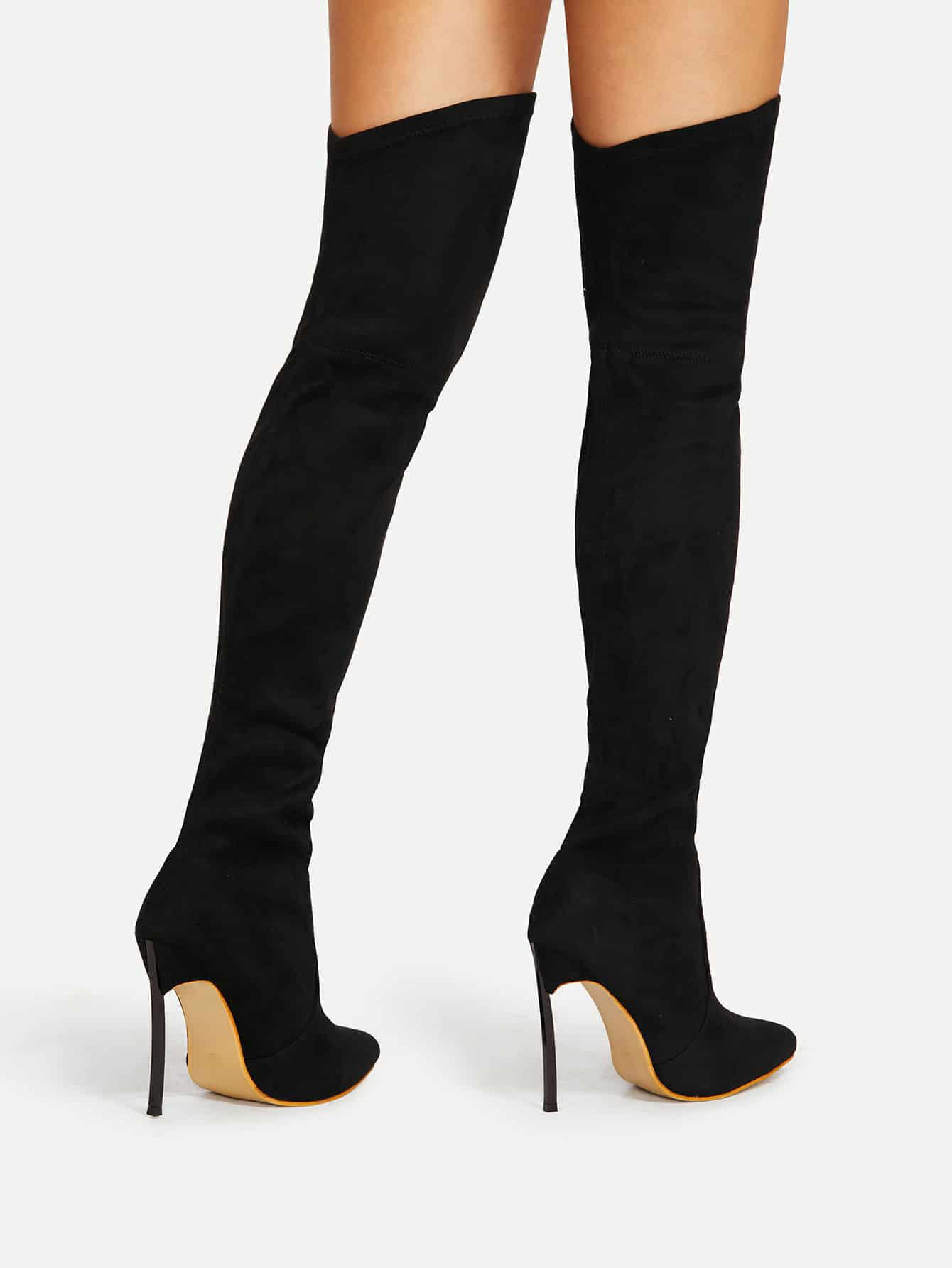 646710b1767 Pointed Toe Stiletto Heeled Thigh High Boots