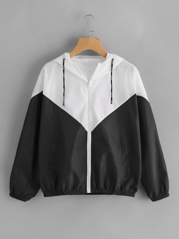 Two Tone Hooded Jacket, Black and white