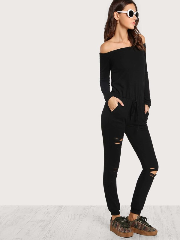 4db424fd172 Cheap Off Shoulder Distressed Sweatshirt Jumpsuit for sale Australia ...