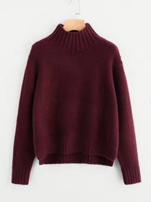 Drop Shoulder Stepped Hem Jumper