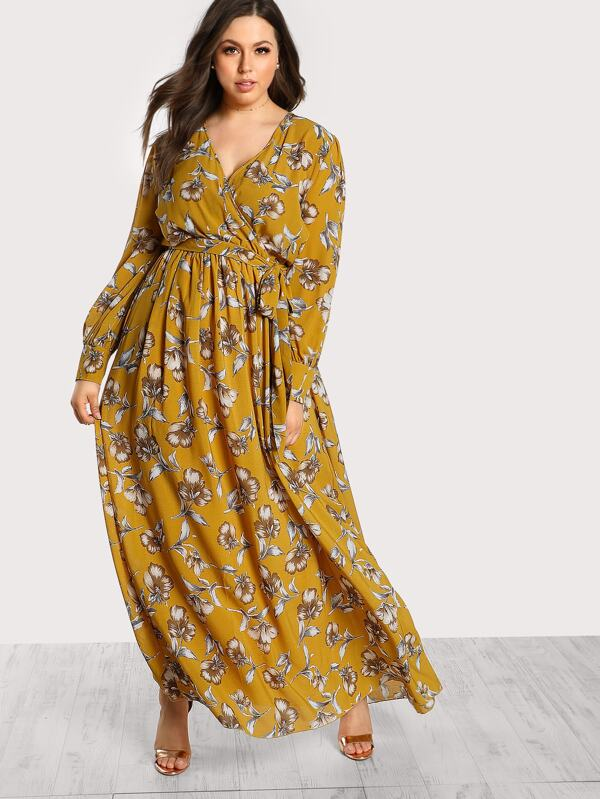 1259d8f3b2 Cheap Plus Floral Print Long Sleeve Maxi Dress for sale Australia ...