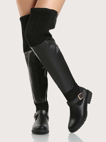 Ribbed Accent OTK Boots BLACK