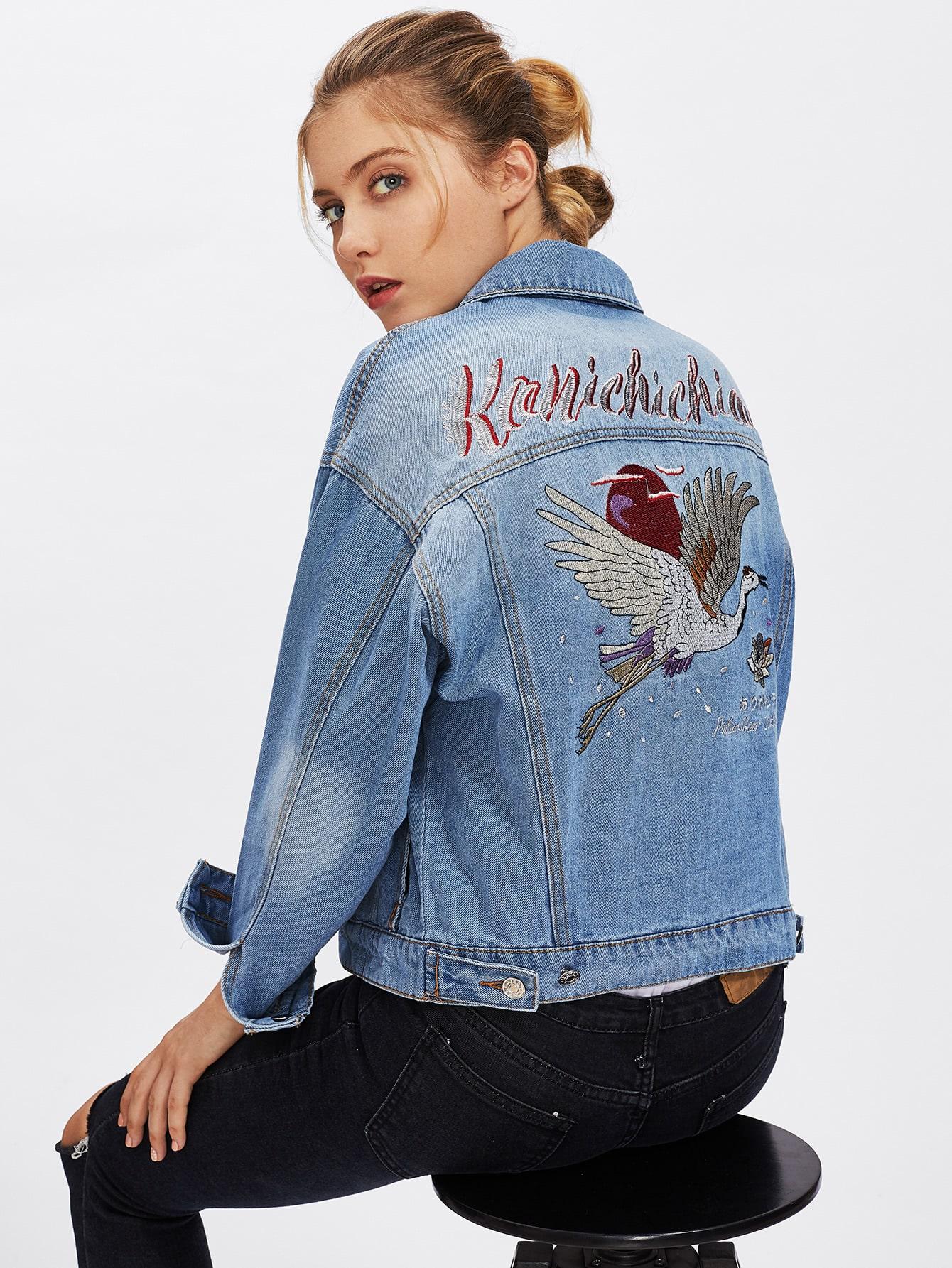 cranes-embroidered-back-denim-jacket by sheinside
