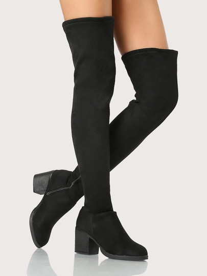 Round Toe OTK Boots BLACK