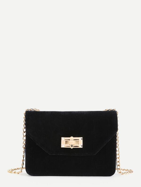 d656638cd90b Velvet Envelope Chain Bag -SheIn(Sheinside)