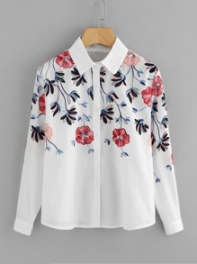 Floral Embroidery Button Front Blouse