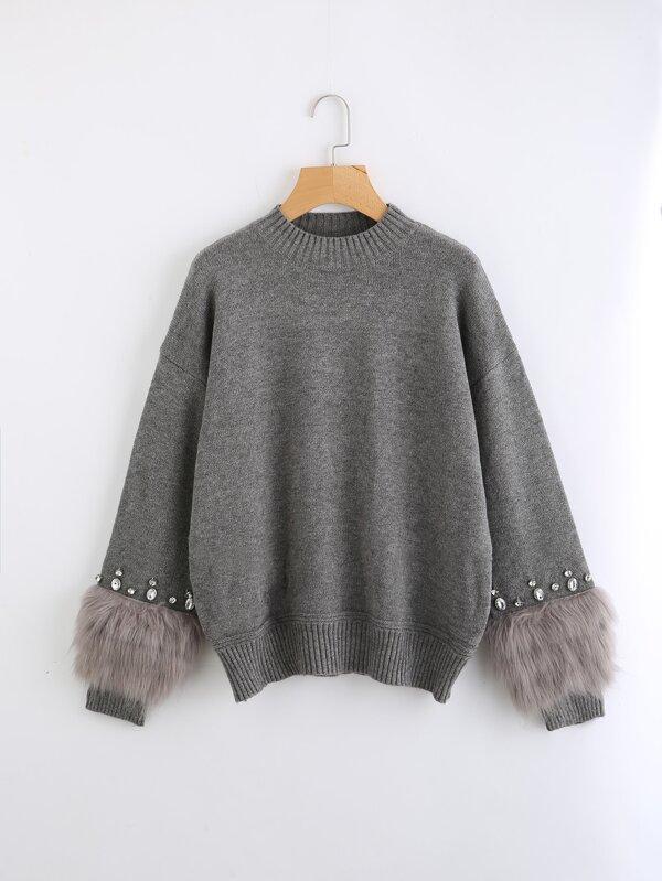 4aa55dc4ec Rhinestone And Faux Fur Embellished Cuff Sweater   SHEIN