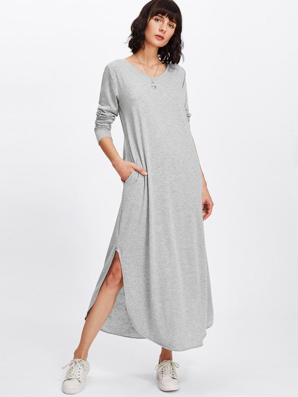 Split Side Longline Dress by Sheinside