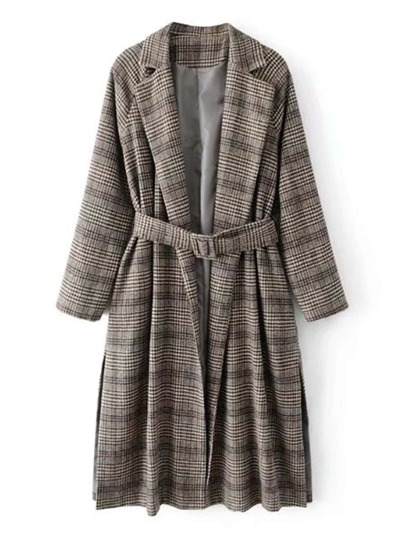 Slit Side Glen Plaid Tweed Coat With Belt