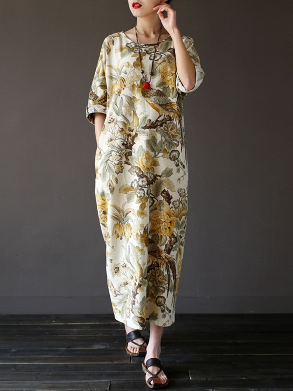 a5f8e61700 Flower Print Longline Dress   SHEIN