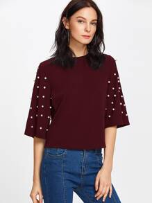Pearl Embellished Fluted Sleeve Tee