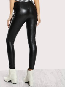 adb0065471 High Rise Piped Faux Leather Pants BLACK | SHEIN