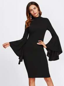 Mock Neck Exaggerate Bell Sleeve Dress