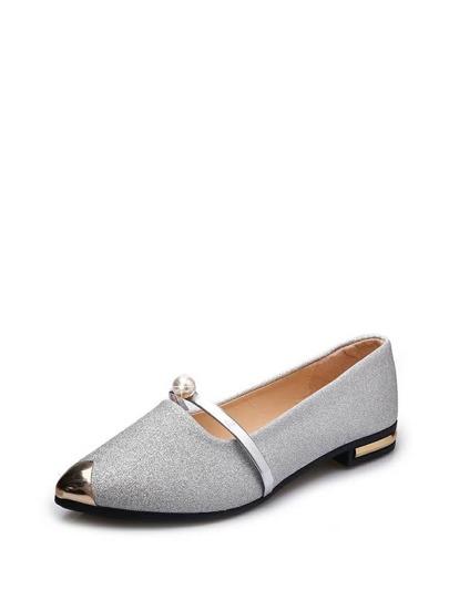 6a5d38bba حذاء مسطح بلولو صناعي و خفيف اللون الفضة   شي إن