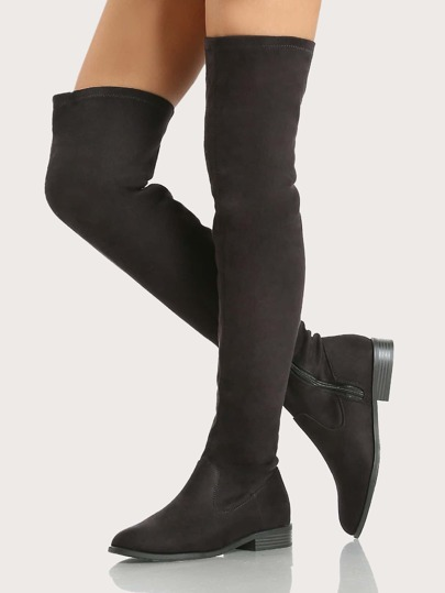 Solid Basic Thigh High Boots BLACK