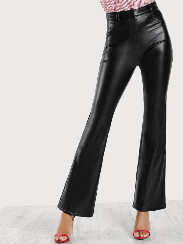 1def388075 Pu Leather Bell Bottom Pants BLACK   SHEIN