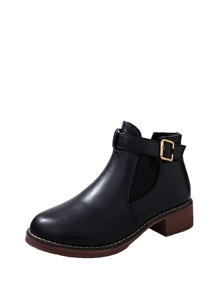 Buckle Detail PU Ankle Boots