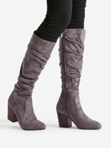 Block Heeled Mid Calf Boots