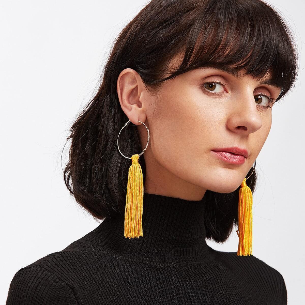 - Tassel Hoop Drop Earrings