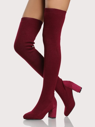 Round Toe Thigh High Sock Boot WINE