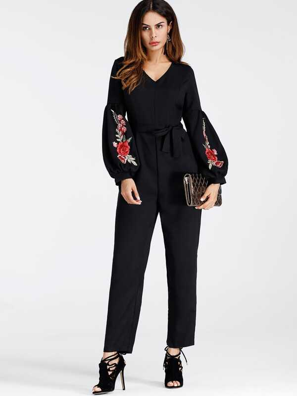 9f1c3b1a0844 Lantern Sleeve Embroidered Rose Applique Jumpsuit With Belt