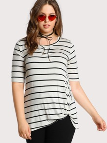 knotted hem striped tee