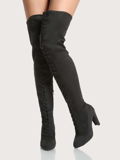Front Lace Up Thigh High Boots BLACK