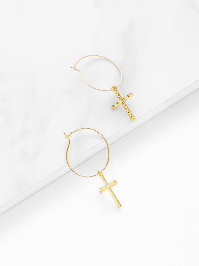 Cross Design Drop Earrings 1pair